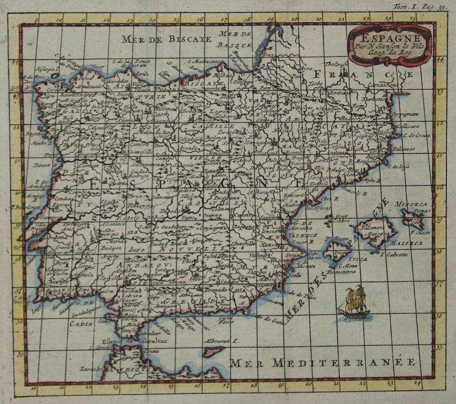 Sanson  Espagne Par N Sanson le Fils Geog. du Roy