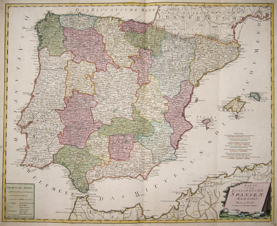 Reilly Franz Johann Joseph Karte von dem Königreiche Spanien. Nach Lopez