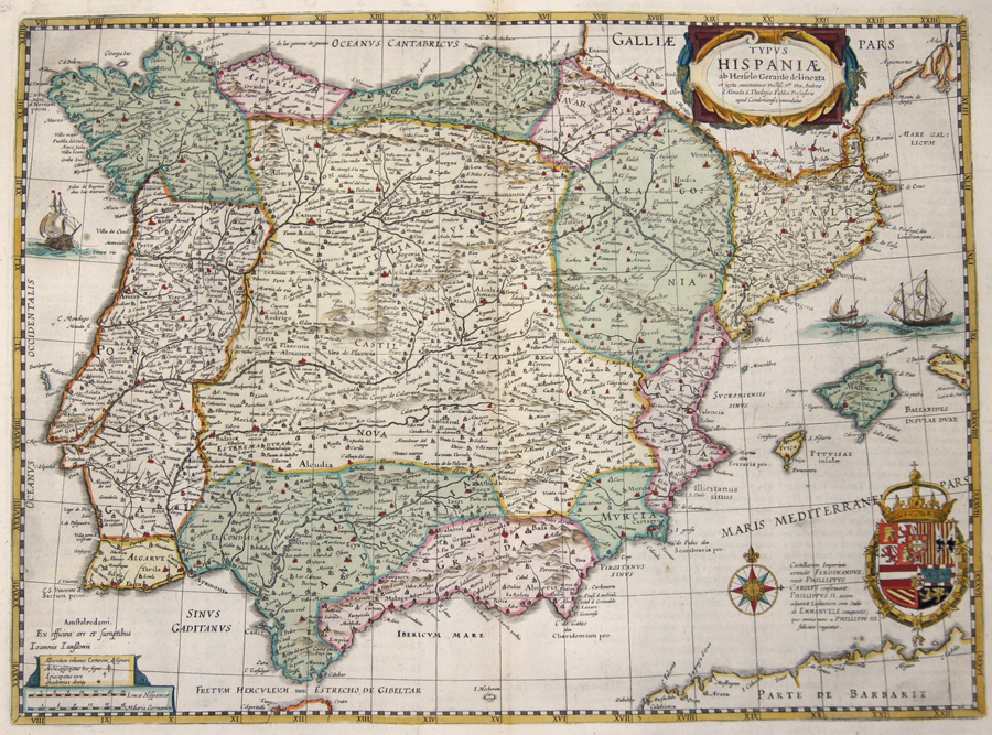 Janssonius/Mercator-Hondius, H. Johann Typus Hispaniae ab Hesselo Gerardo delineata…