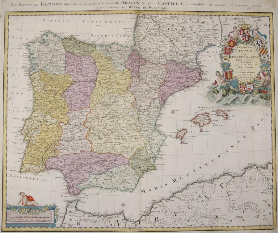 Homann Johann Babtiste Regnorum Hispaniae et Portugalliae / El Reyno de Espanna dividido en dos grandes Estados de Aragony de Castilla…