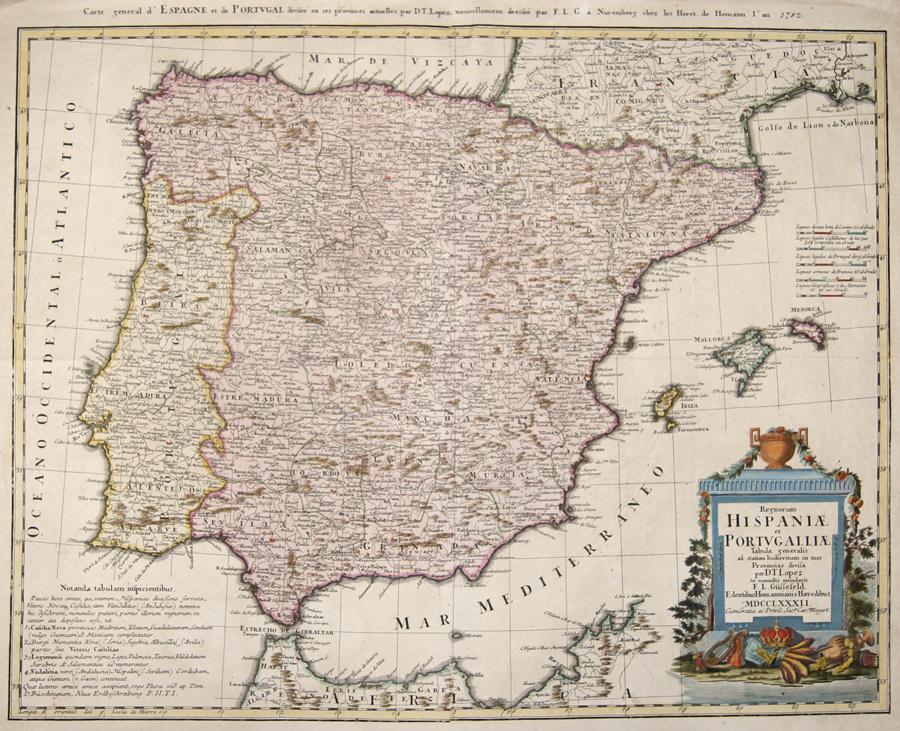 Homann / Güssefeld Erben Regnorum Hispaniae et Portugalliae. Tabula generalis ad statum hodiernum in suas Provincias divisa per D.T. Lopez…