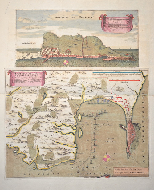 Husson  Aftekening van Gibraltar. / Plan de la Ville de Gilbraltar