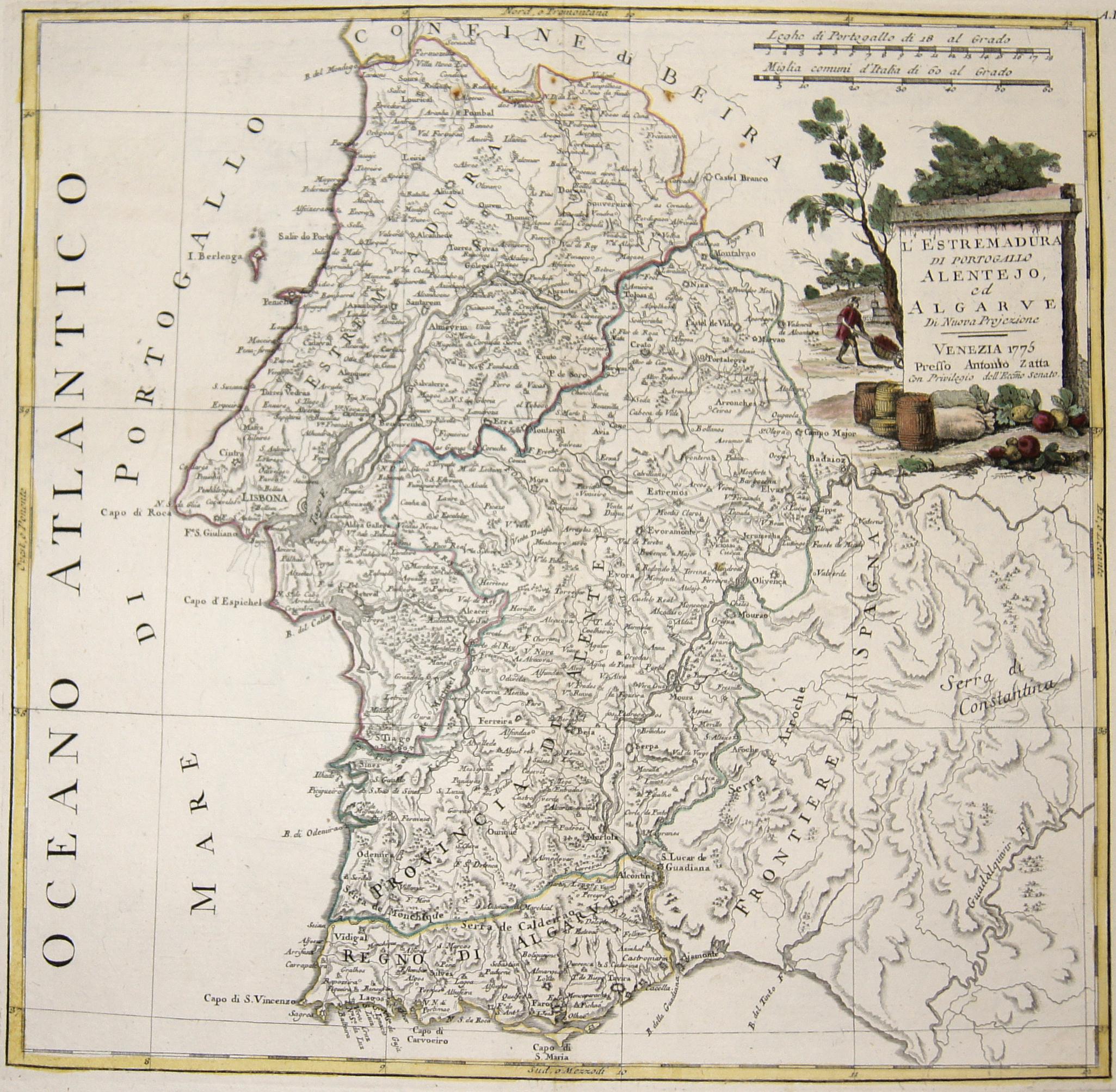 Zatta  L' Estremadura di Portogallo Alentejo, ed Algarve