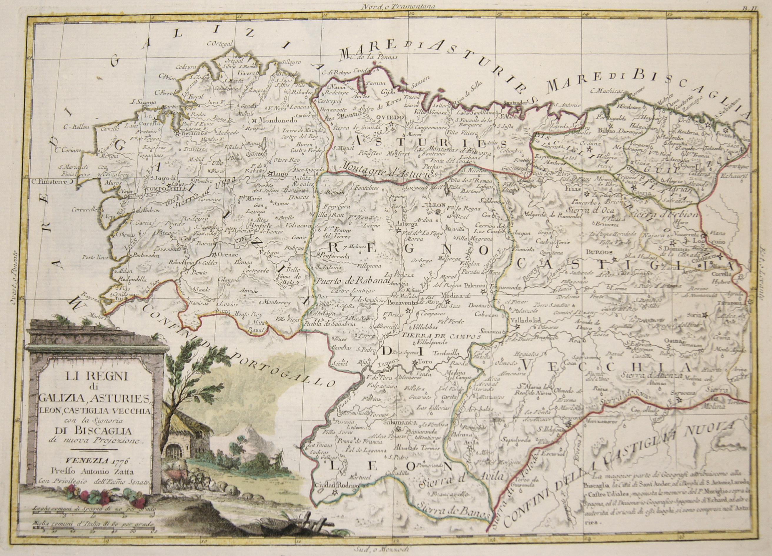 Zatta  Li Regni di Galizia, Asturies, Leon, Castiglia Vecchia con la Signoria di Bascaglia di nuova Projezione.