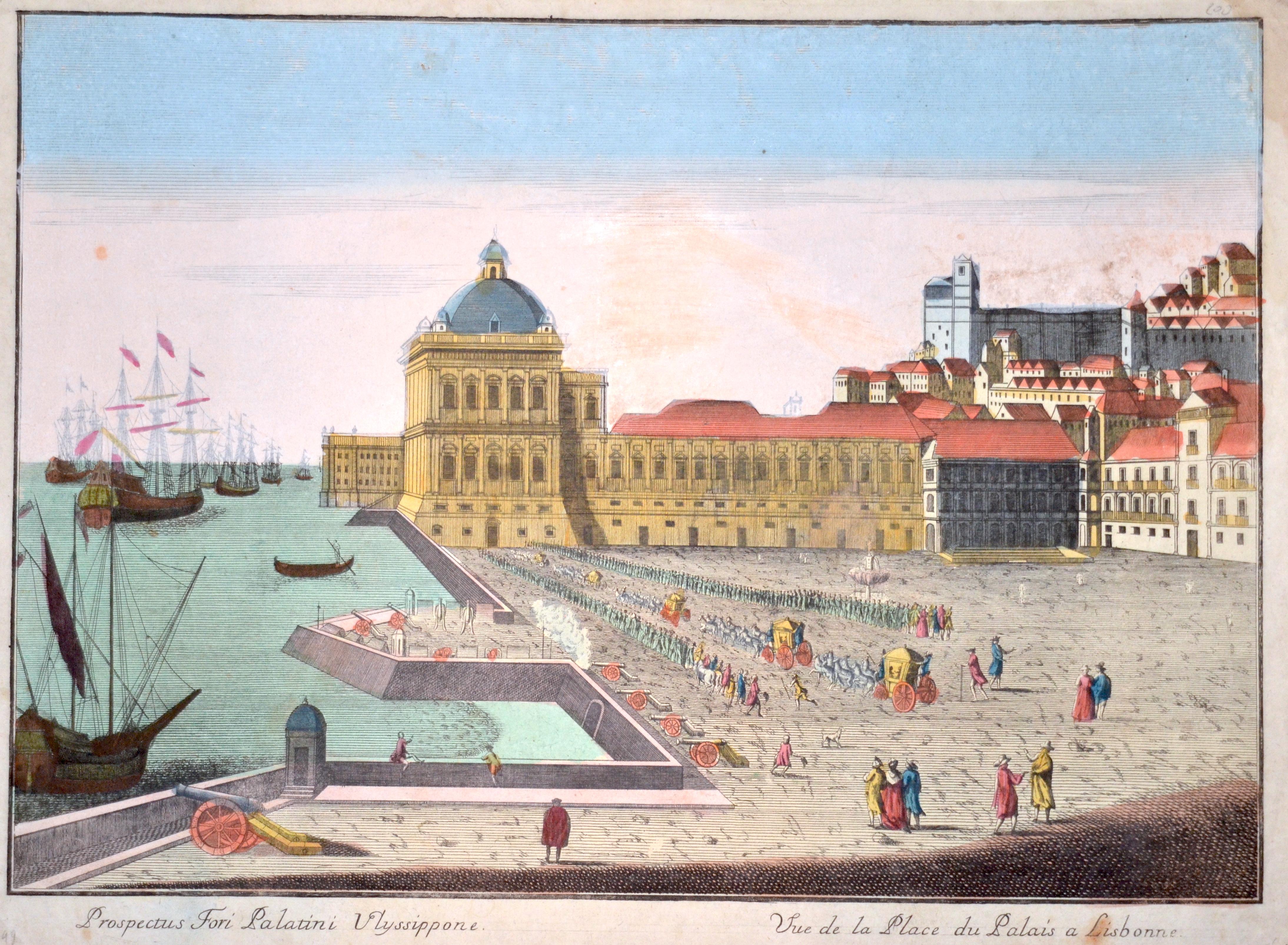 Anonymus  Prospectus Fori Palatini Ulyssippone. / Vue de la Place du Palais a Lisbonne.