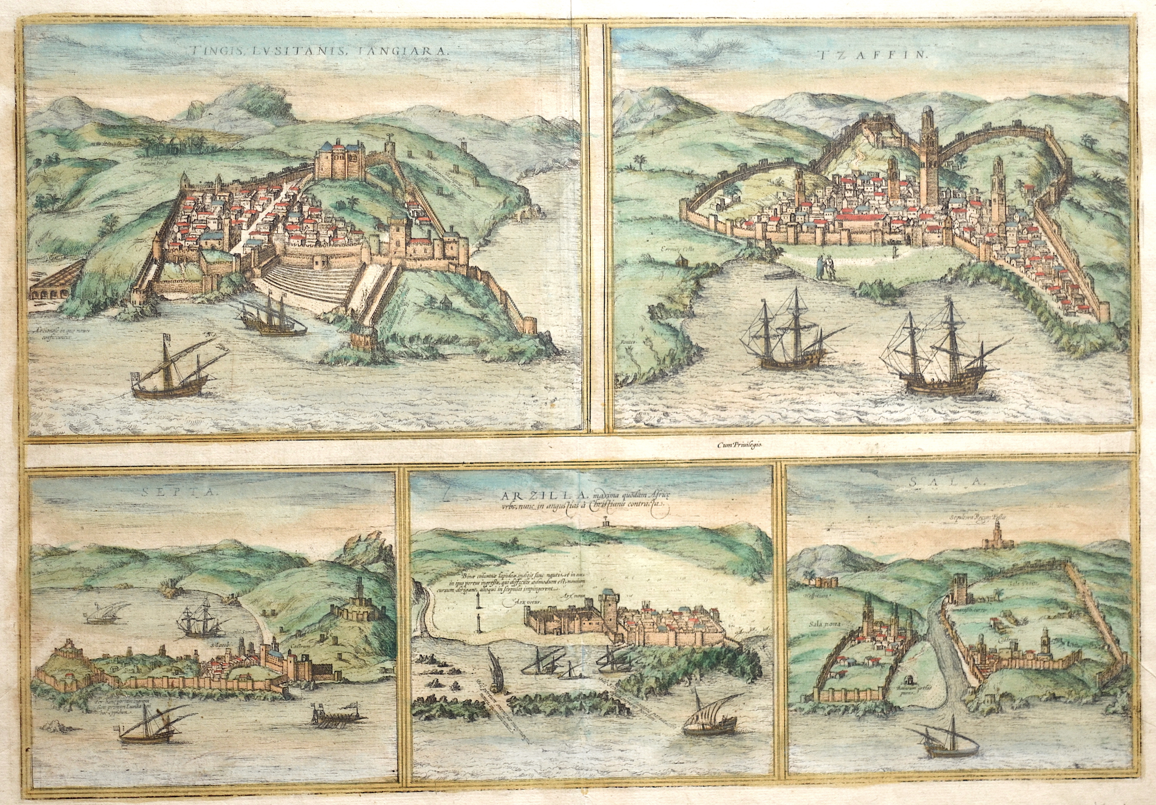 Braun/Hogenberg Franz/ Georg Tingis, Lusitanis, Iangiara. / Tzaffin. / Septa. / Arzilla / Sala.