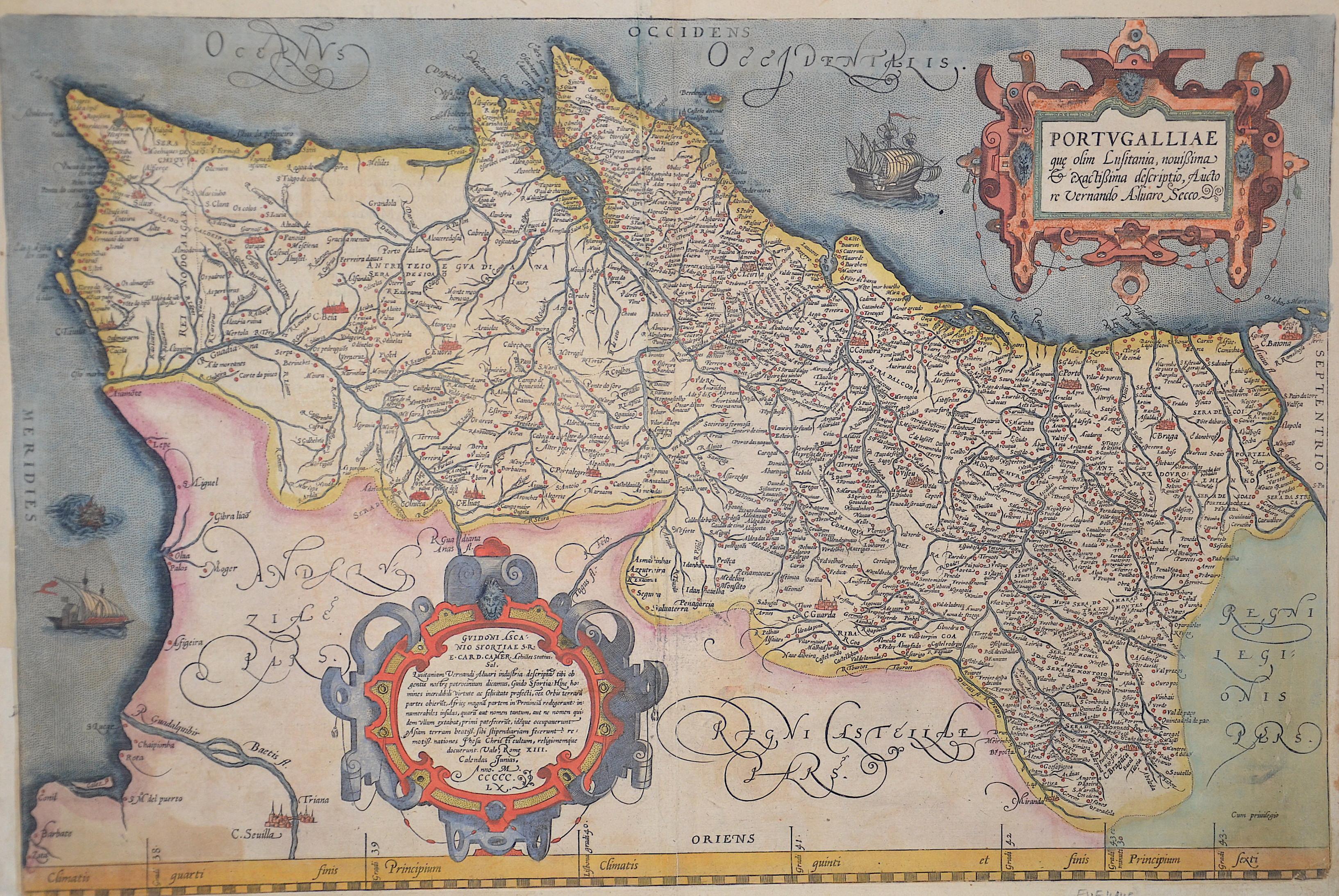 Ortelius Abraham Portugalliae que olim Luisitania, nouißima exactißima descriptio,  Auctore Vernando Aluaro Secco.