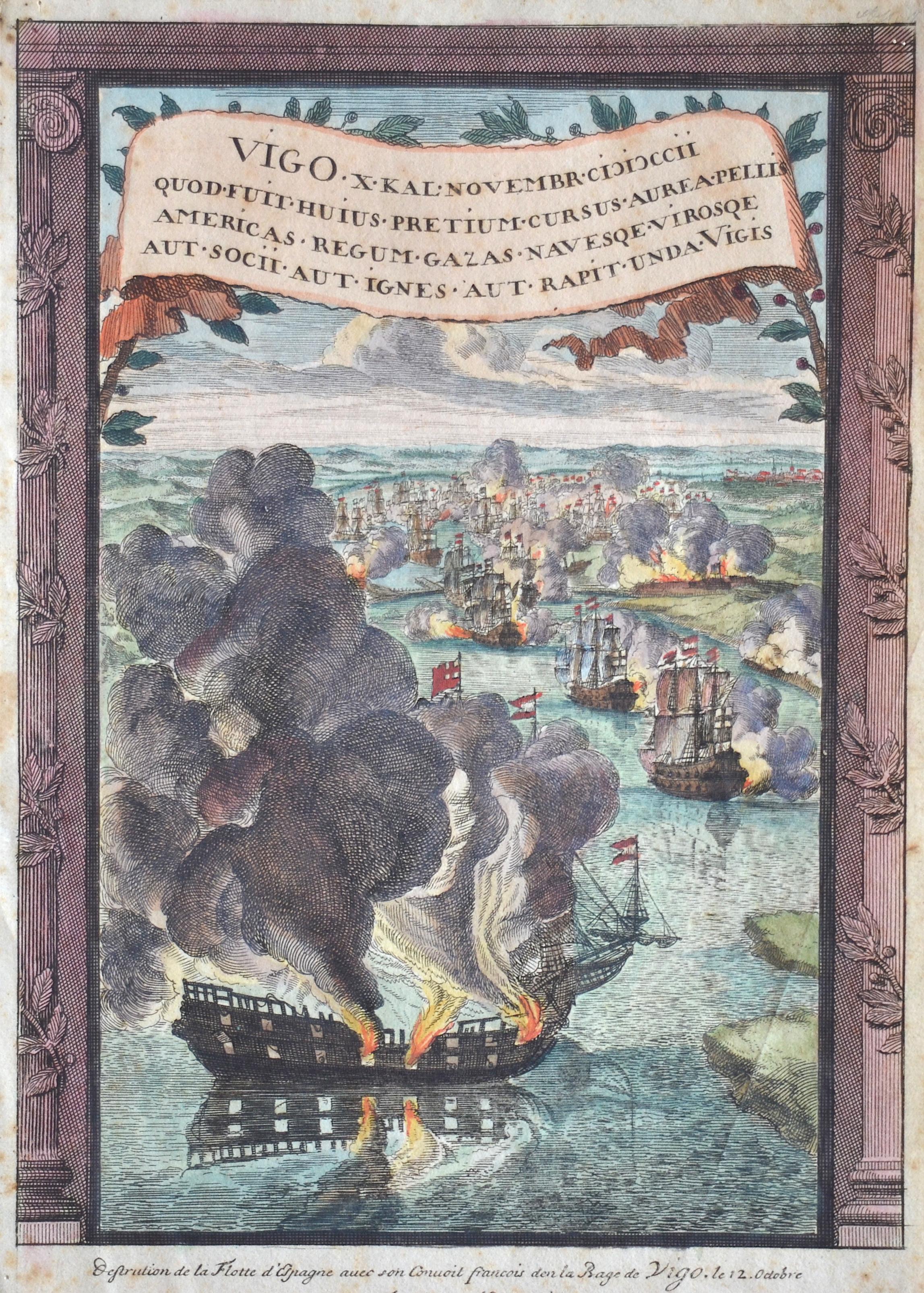 Anonymus  Destrution de la Flotte d'Espagne avec son Conuoit francois den la Bage de Vigo. Le 12. Octobre par les force Angloises et Hollandoises 1702.