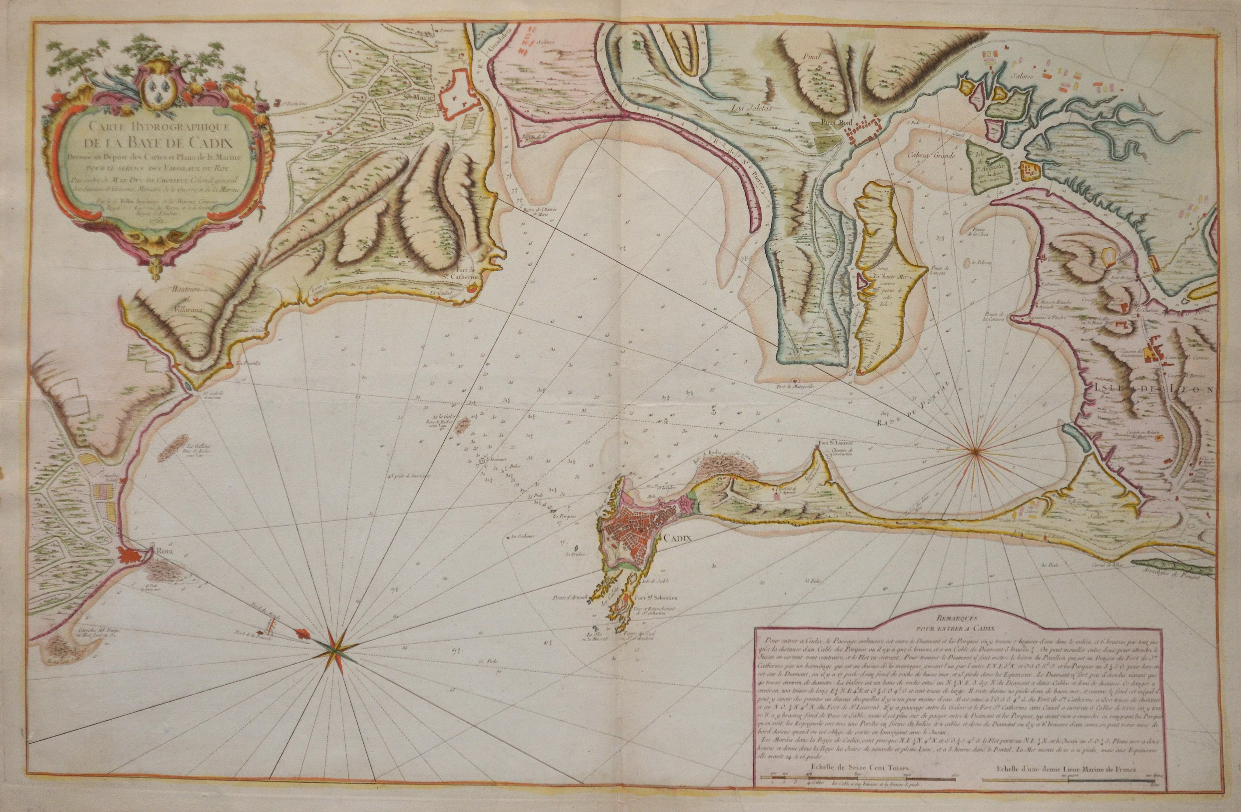 Bellin  Carte Hydrographique de la Baye de Cadix