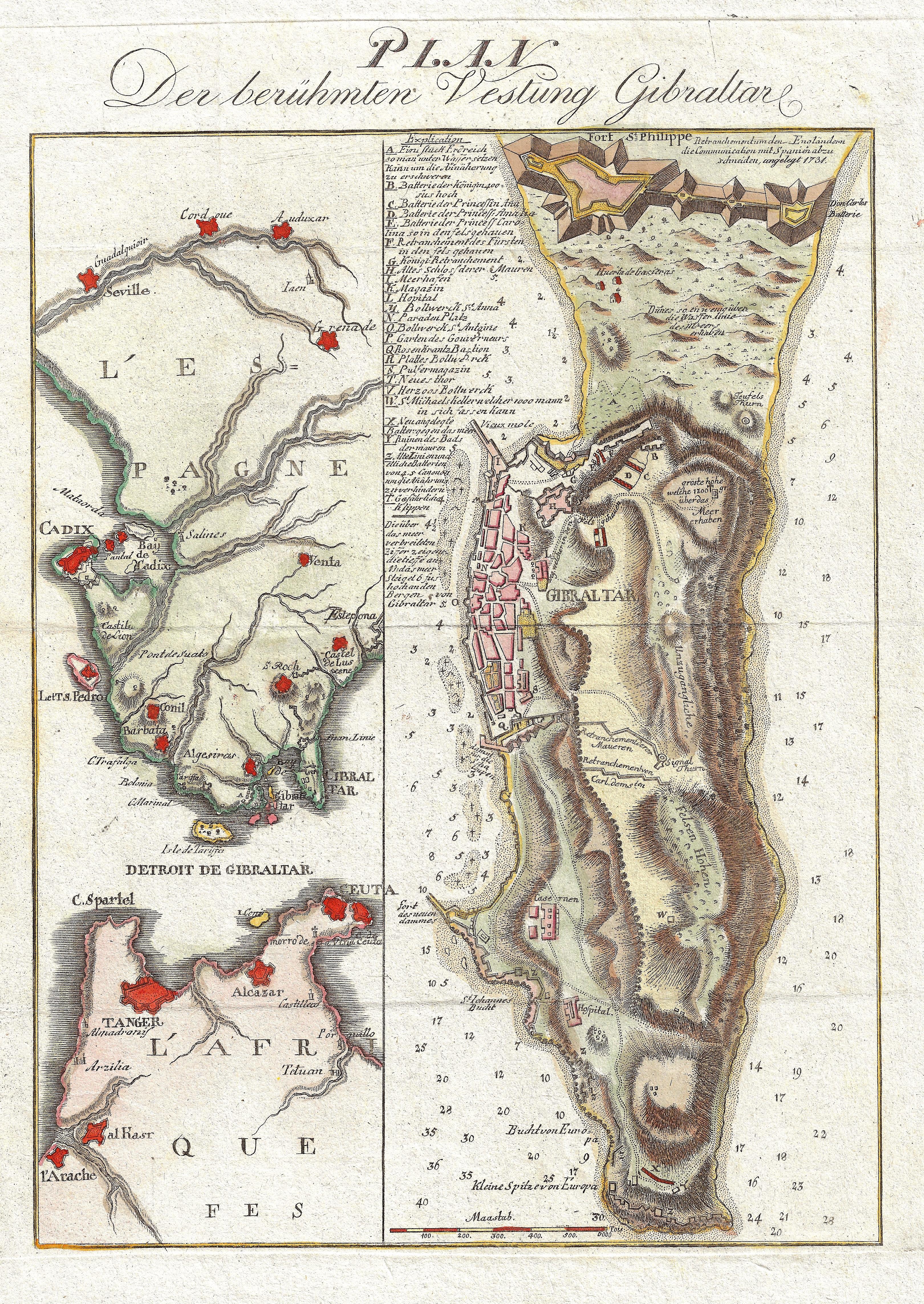 Anonymus  Plan Der berühmten Vestung Gibraltar.