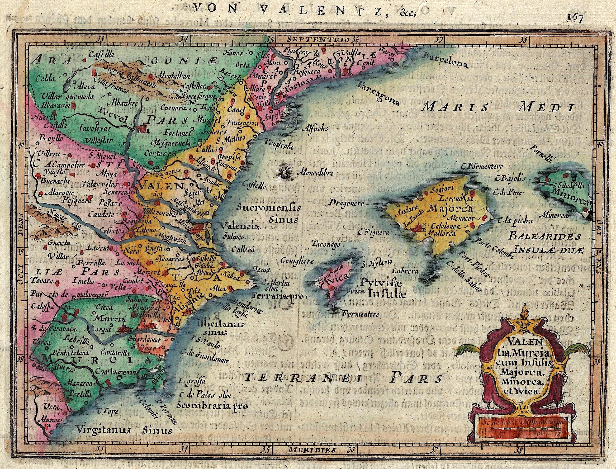 Mercator  Valentia, Murcia, cum Insulis Majorca, Minorca, et Yvica.