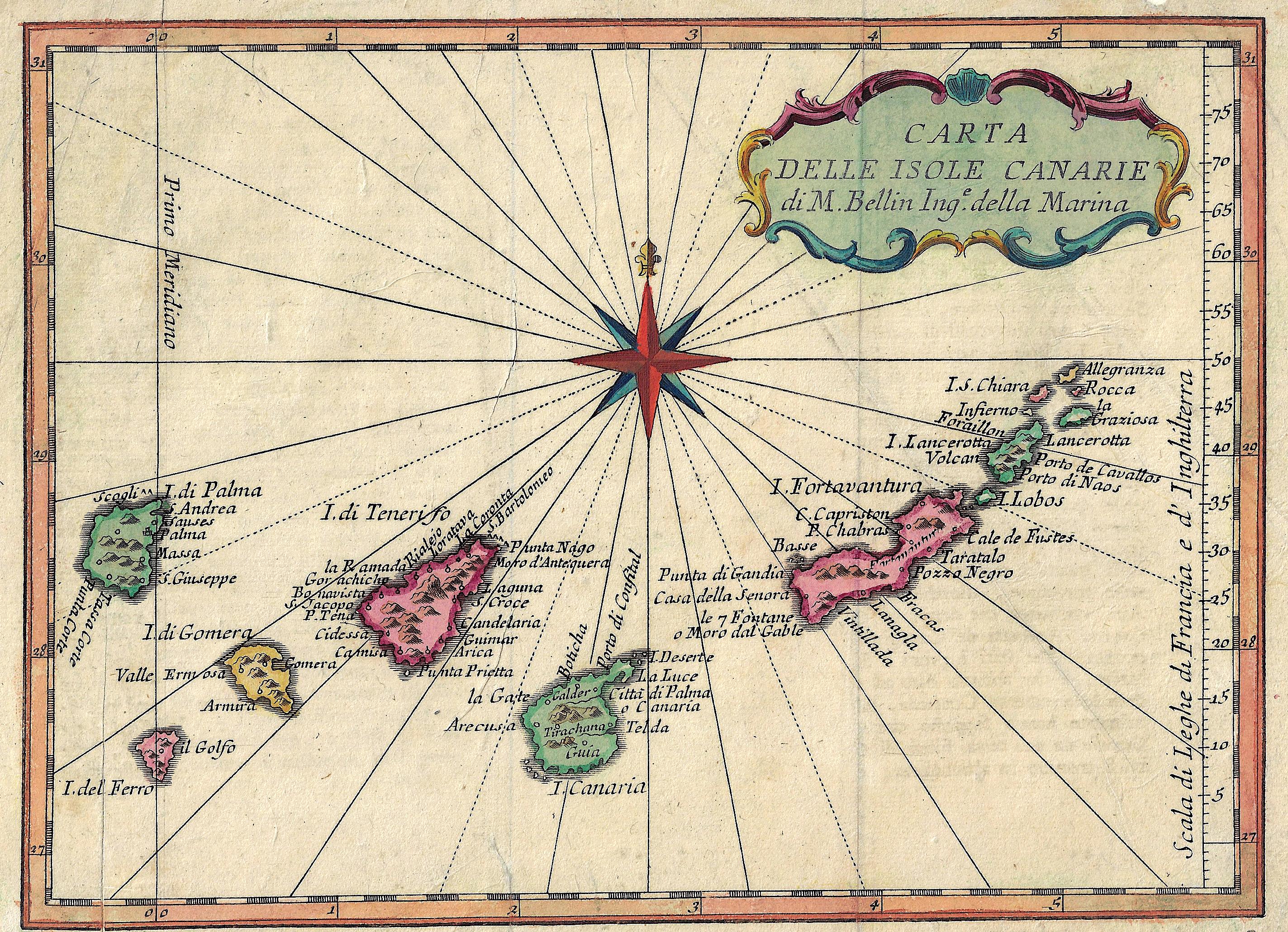 Bellin  Carta delle Isole Canarie di M. Bellin Inge. Della Marina