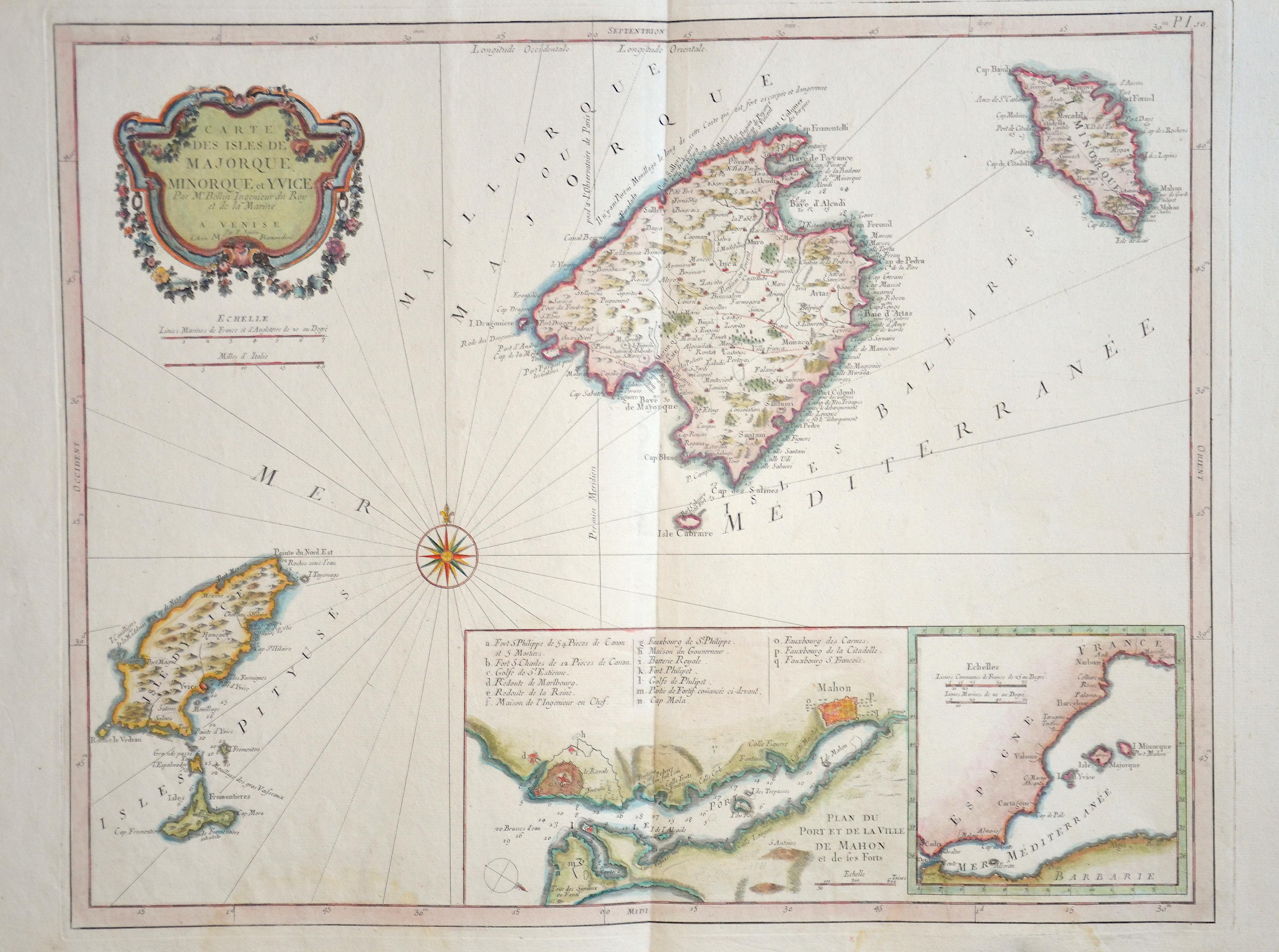 Santini Francois Carte des Isles de Majorque, Monorque, et Yvice