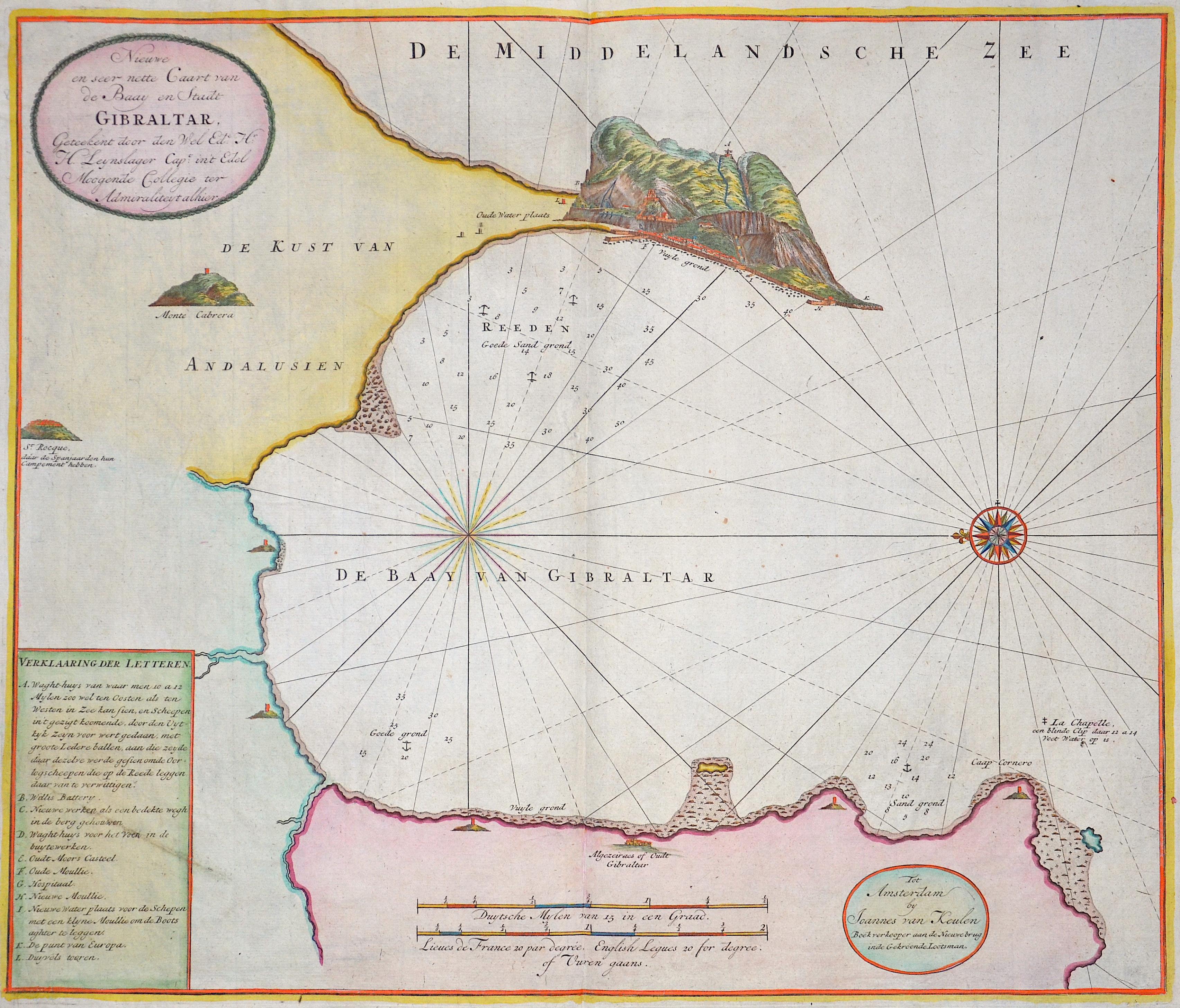 Keulen Johannes van Nieuwe en seer nette Caart vam de Baay en Stadt Gibraltar,