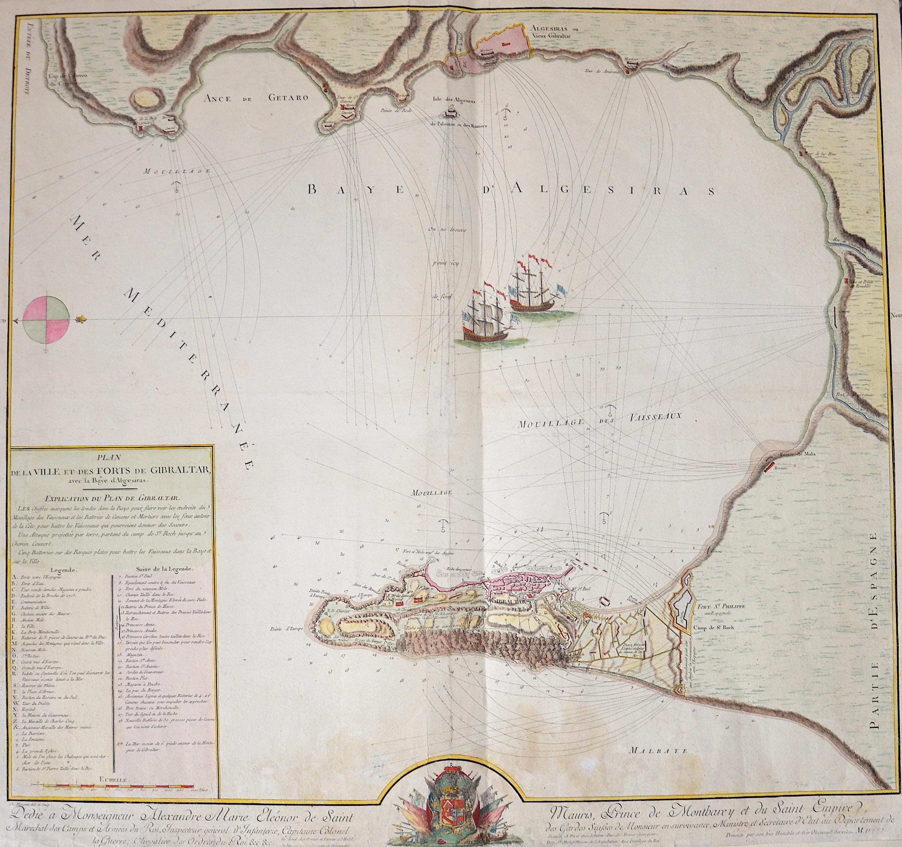 Maugein  Plan de la Ville et des Forts de Gibraltar, avec la Baye d Algesiras.