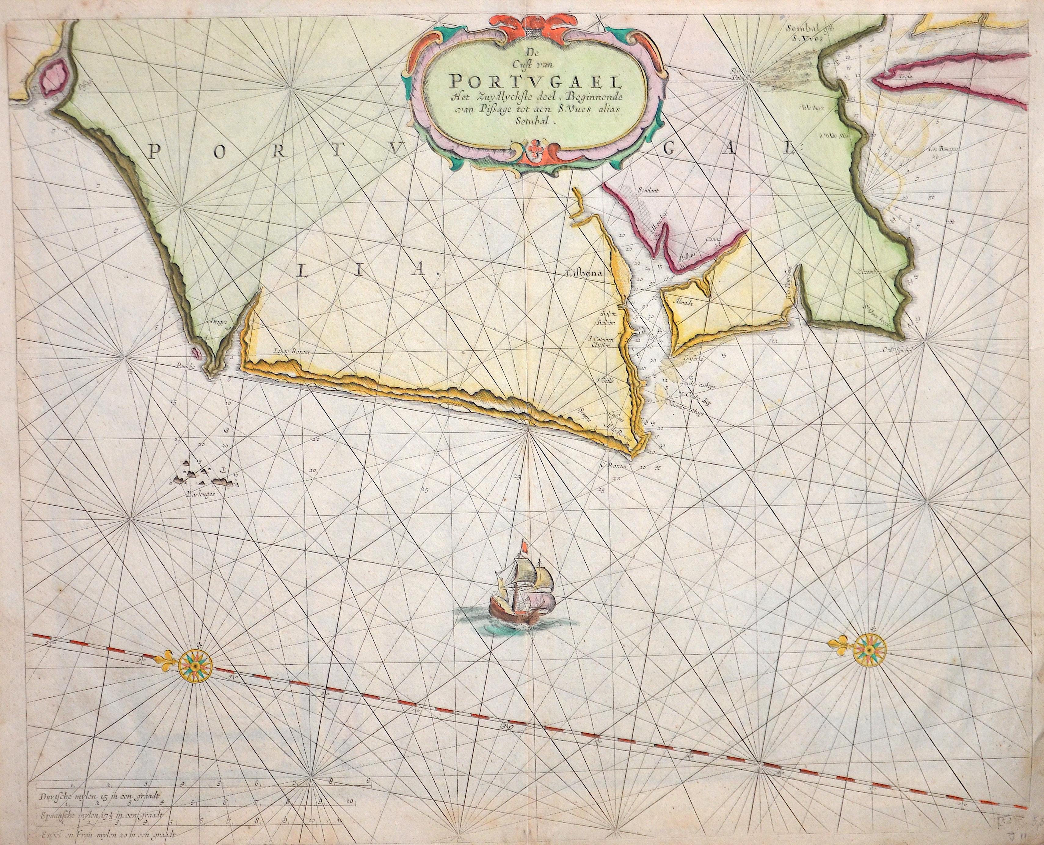 Keulen Gerard van De Cust van Portugael Het Uzydlyckste deel, Beginnende van Pißage tot aen S. Vues alias Setubal.