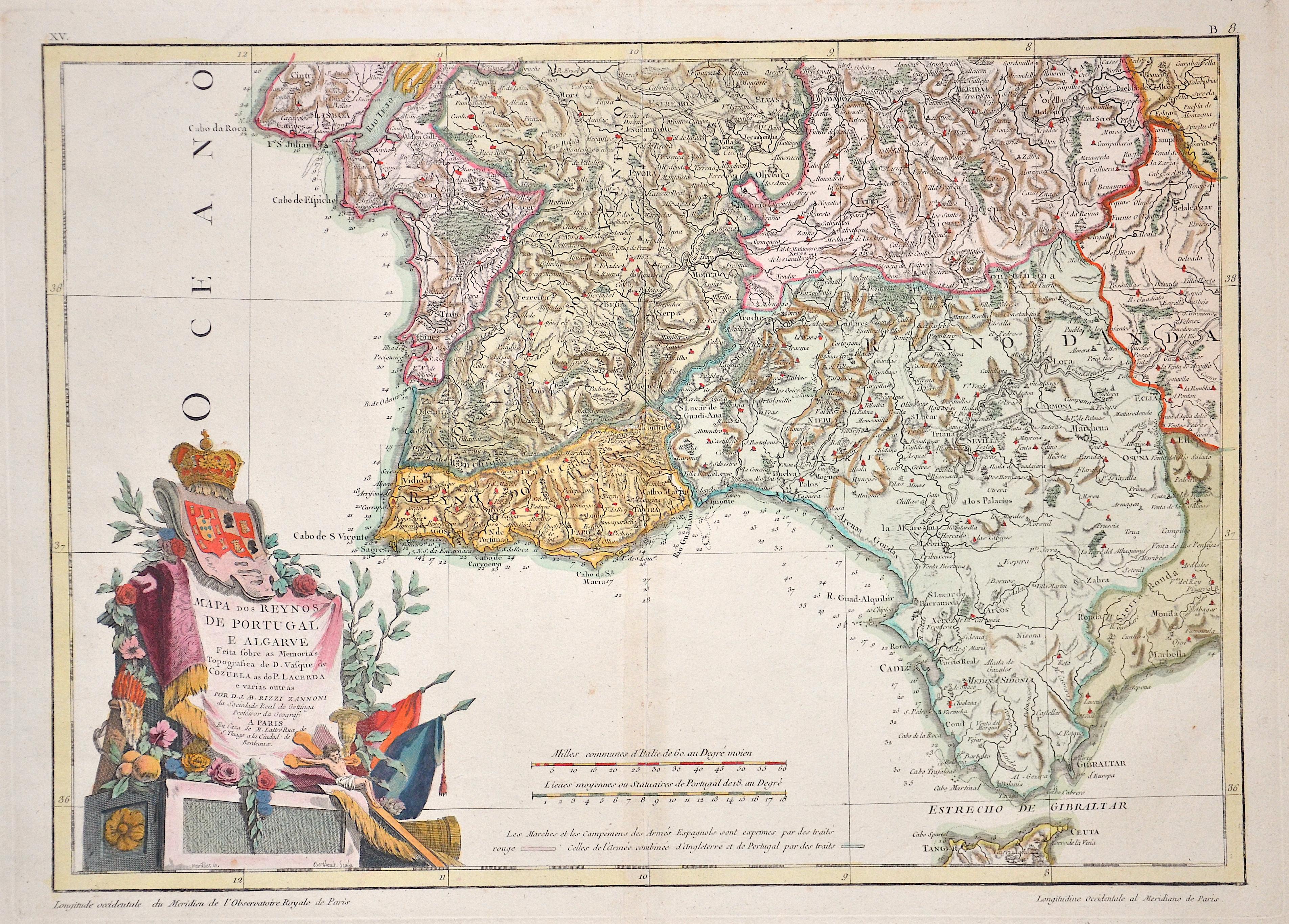 Rizzi Zannoni Giovanni Antonio Mapa dos Reynos de Portugal e Algarve