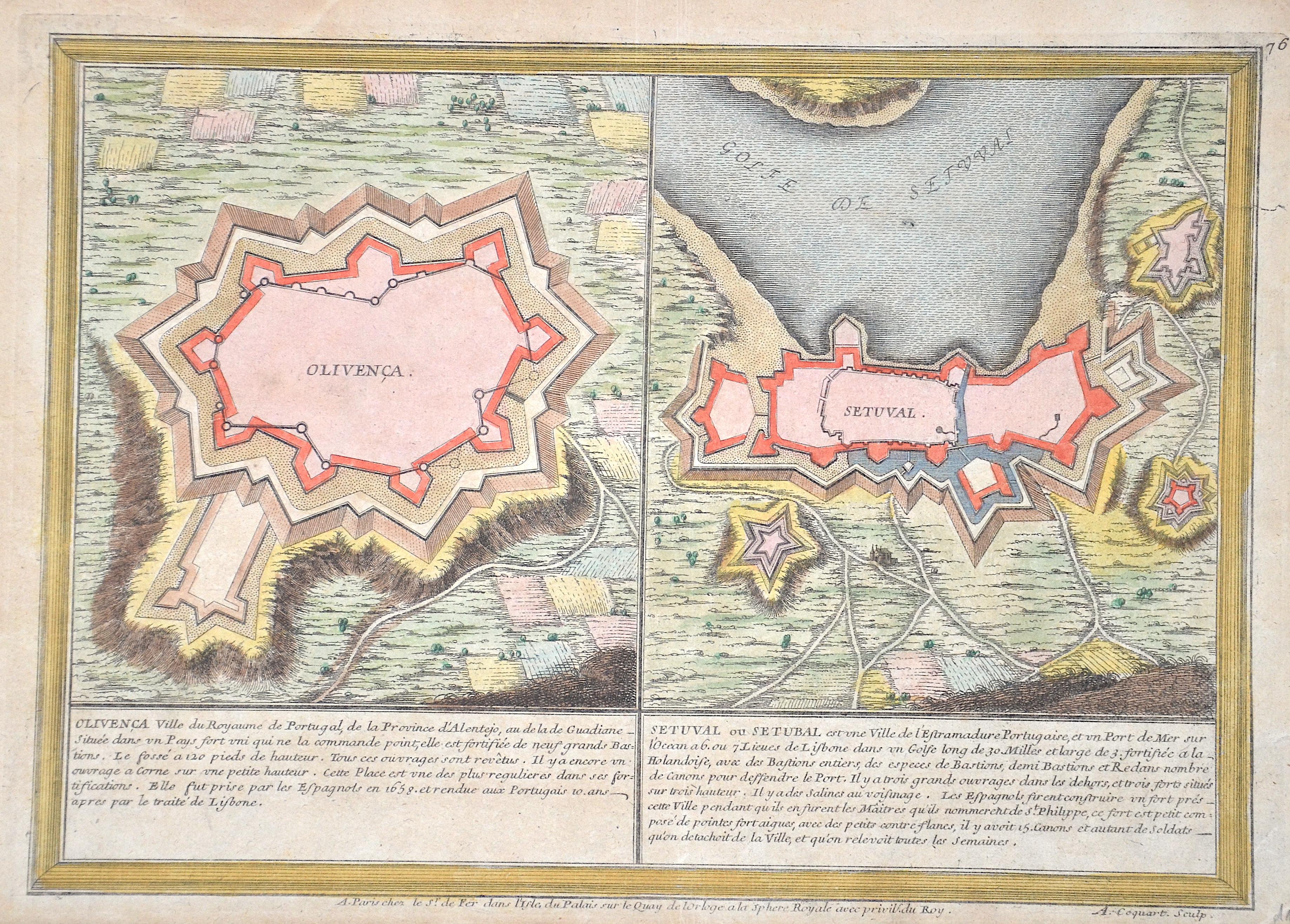 Fer, de Nicolas Olivenca Ville du Royaume de Portugal, de la Province d'Alentejo,../Setuval ou Setubal est une Ville de l'Estramadure Portugaise, et un Port de Mer.
