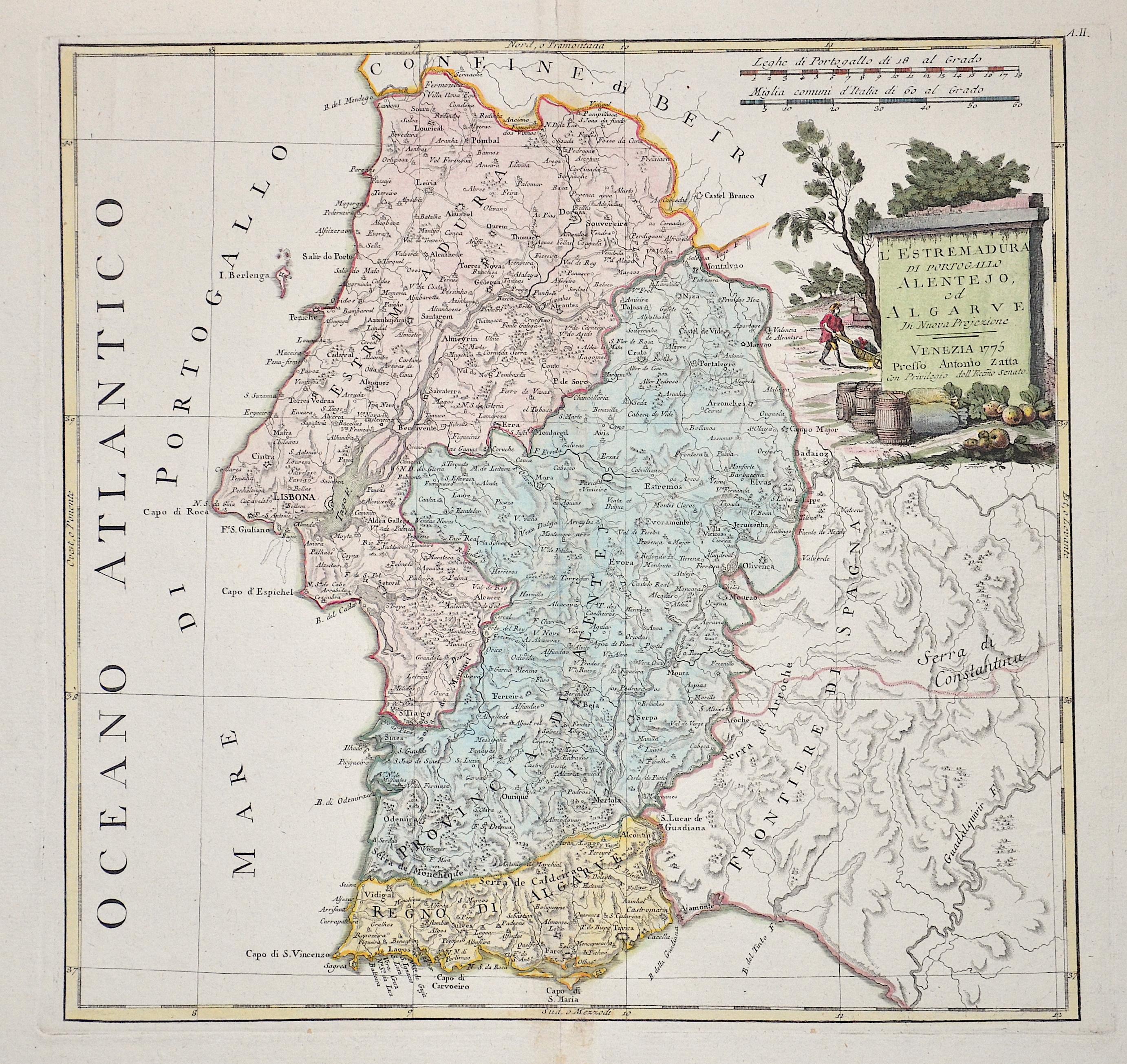 Zatta Antonio L'Estremadura die Portogallo Alentejo, ed Algarve