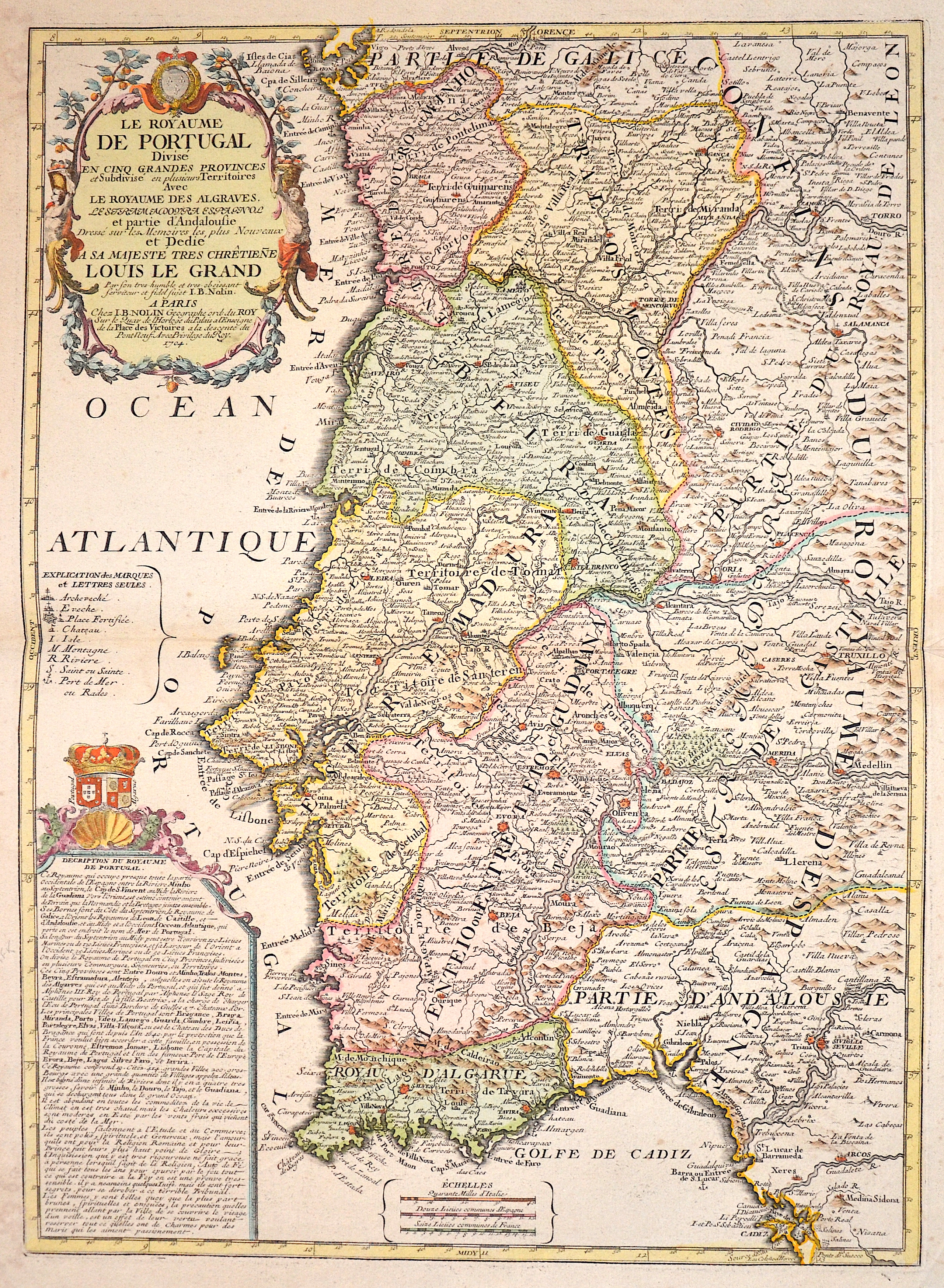 Nolin Jean Baptiste Le Royaume de Portugal divise en cinq grandes Privinces..