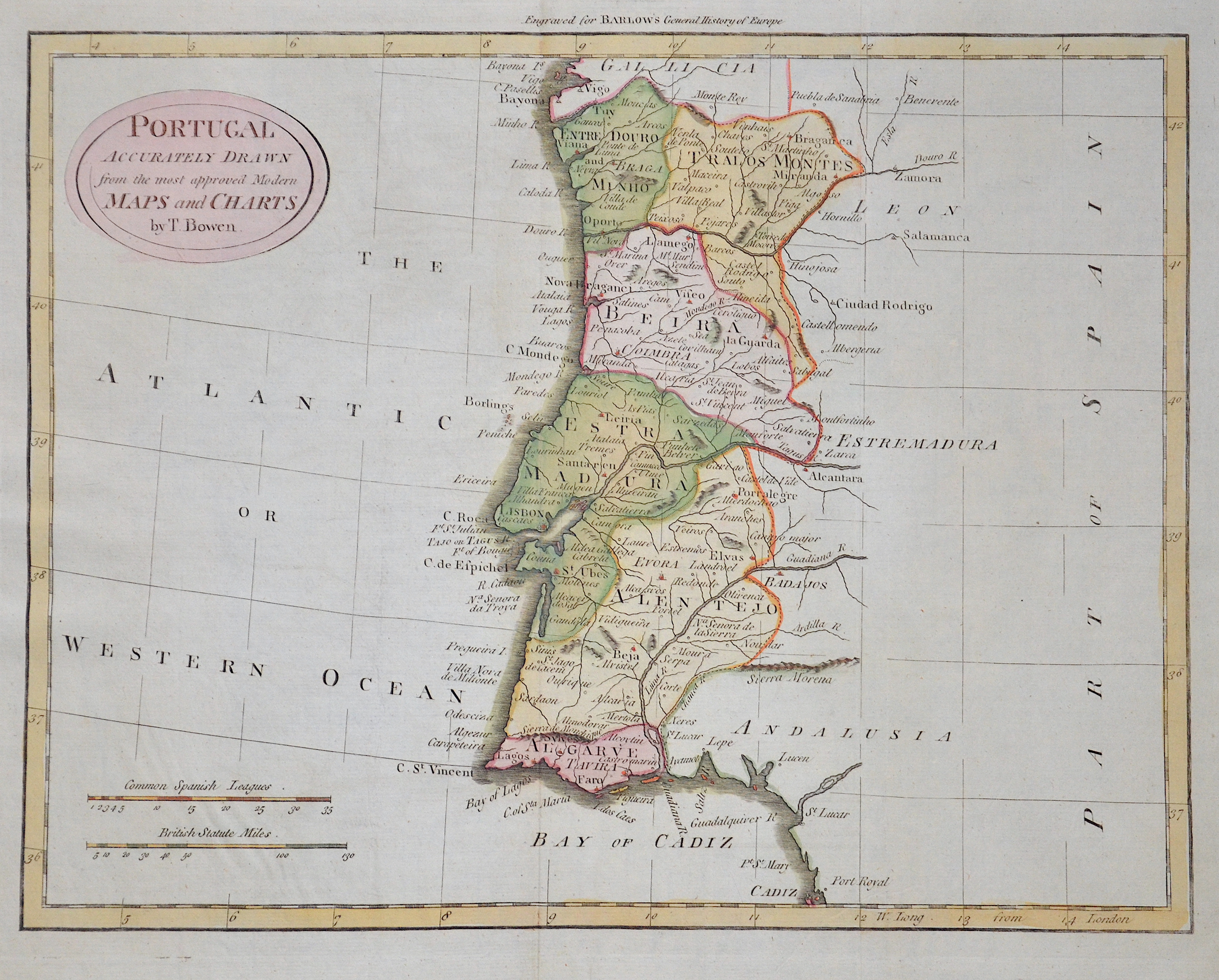Bowen Thomas Portugal Accurately drawn from the most approved Modern Maps and Charts by T. Bowen.