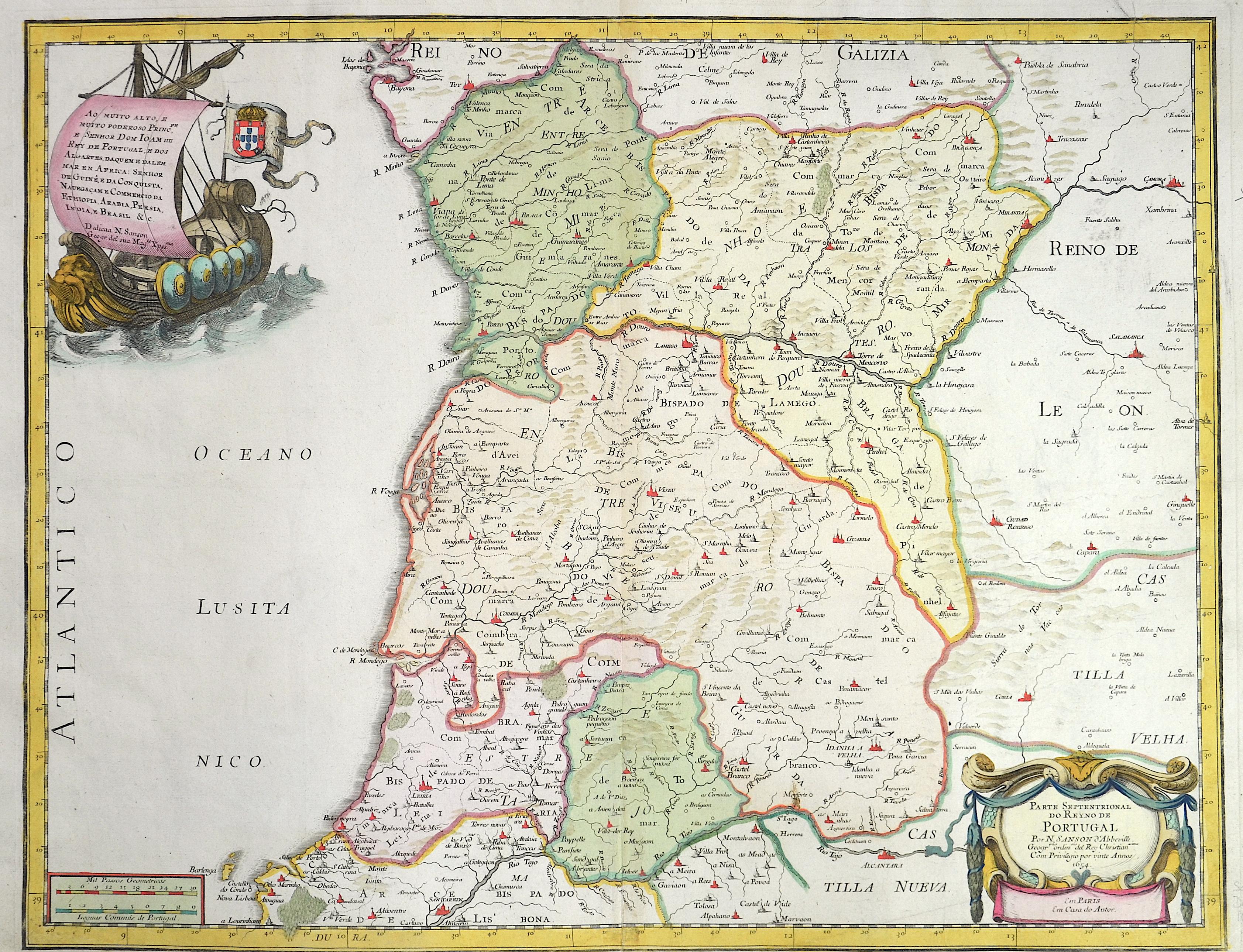 Rossi/ Sanson  Parte Septentrional do Reyno de Portugal