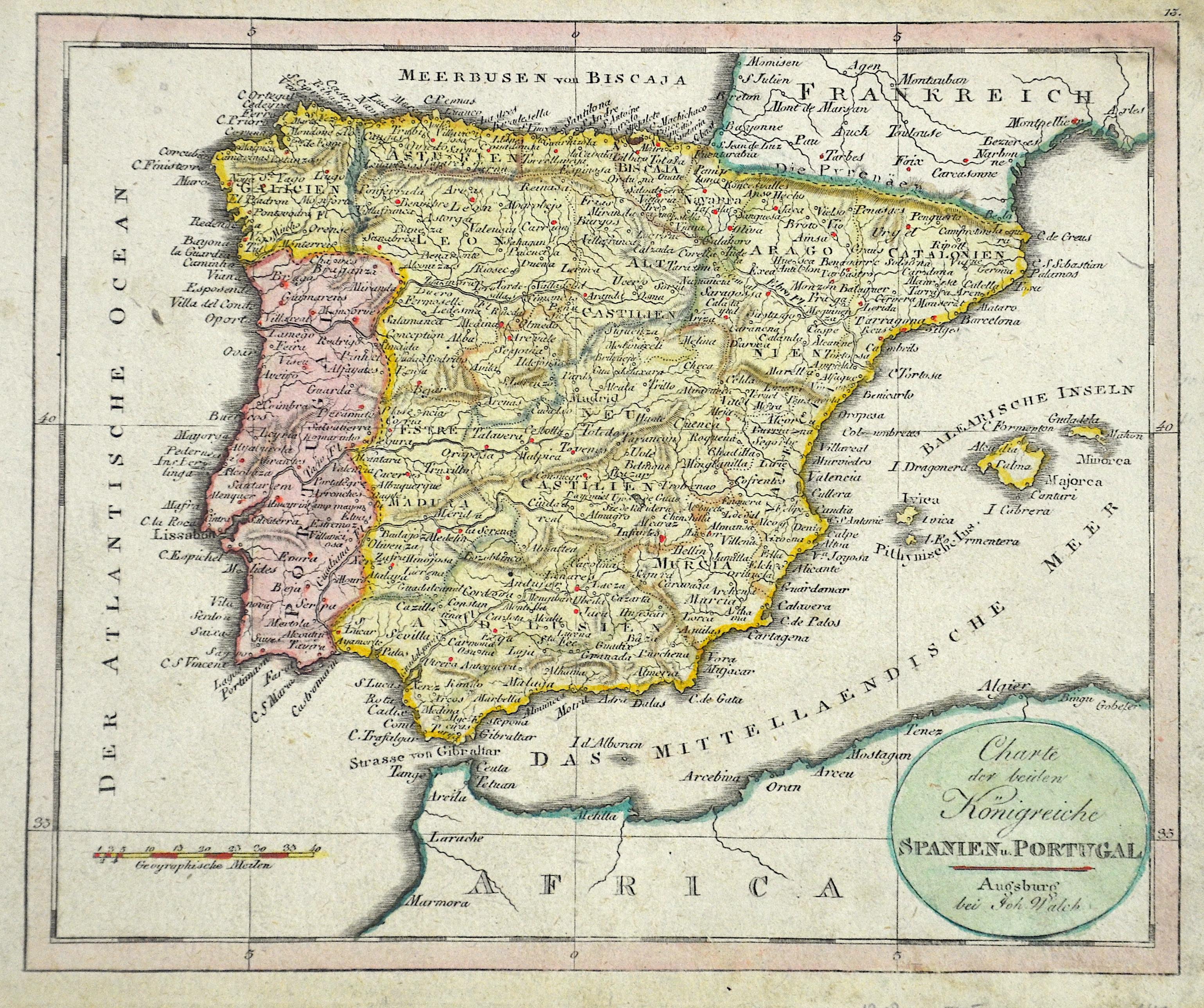 Walch Johann Charte der beiden Königreiche Spanien u. Portugal