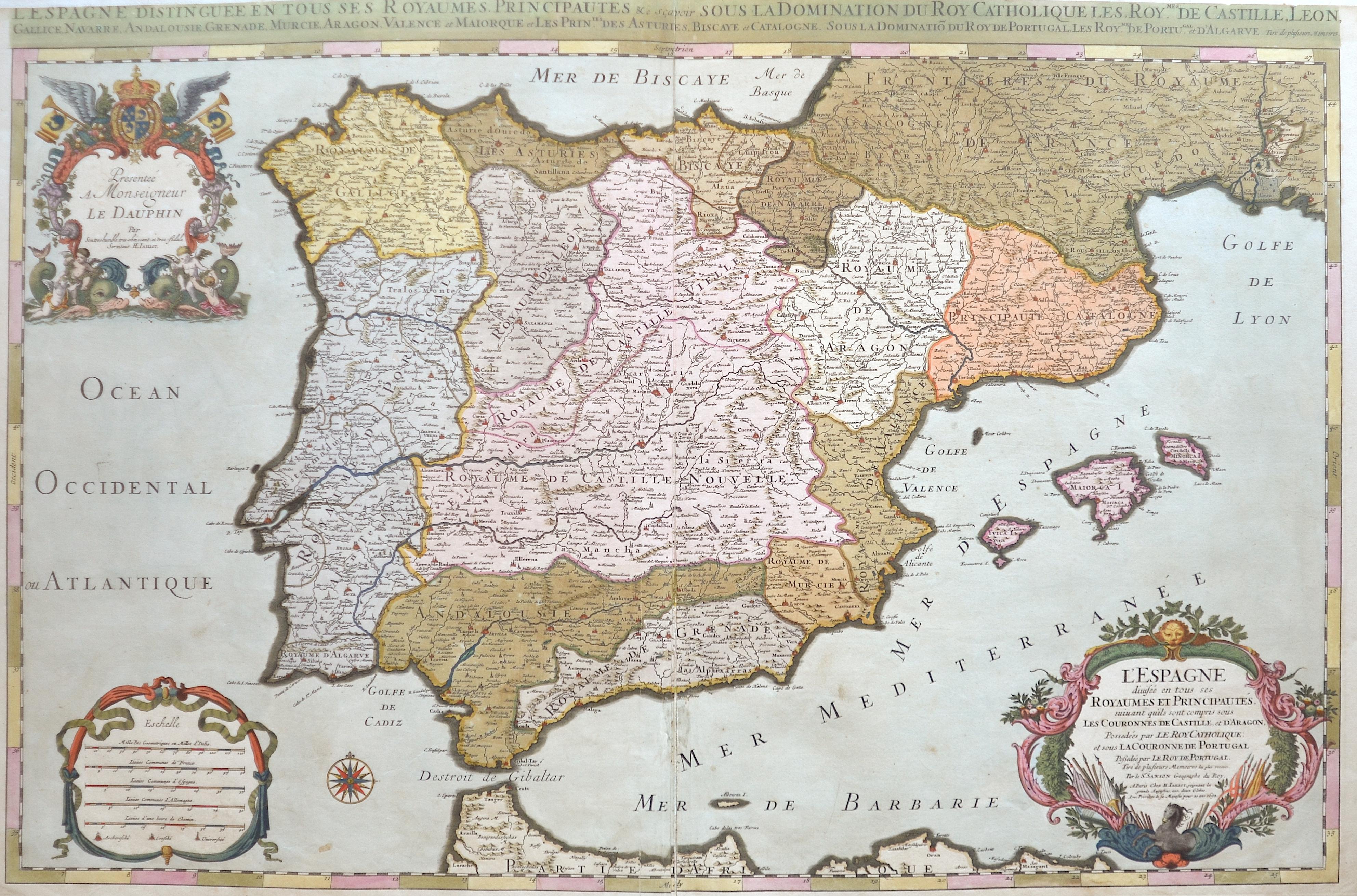 Sanson/ Jaillot, Charles Hubert Nicolas L´Espage diousee en tous ses Royaumes et principautes…