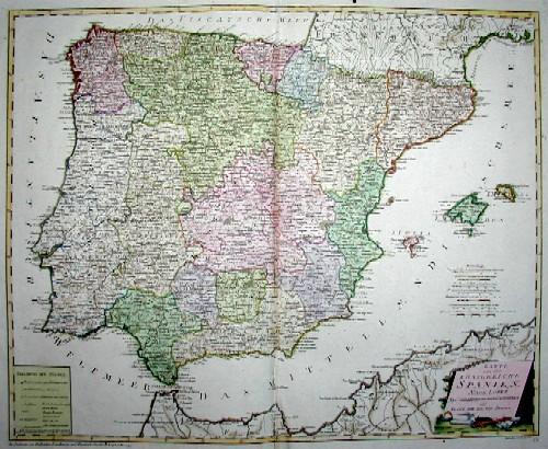 Reilly Franz Johann Joseph Karte von dem Königreiche Spanien nach Lopez