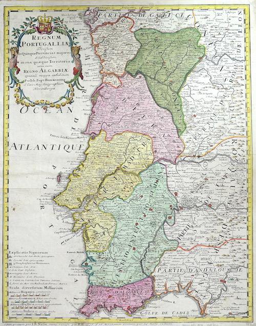 Homann  Regnum Portugalliae divisum in Quinque Provincias majores…