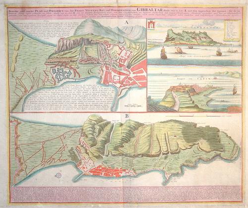 Homann Erben  Neuester und exacter Plan und Prospect von der Stadt, Vestung, Bay und Fortifikation von Gibraltar…