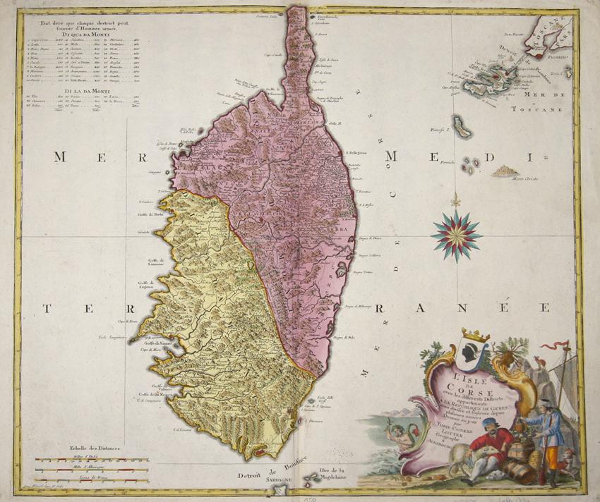 Lotter  L´Isle de Corse avec les differents Districts, appartenaute A La République de Genes mais divisée et soulevée depuis plusieurs années Donnée au jour..