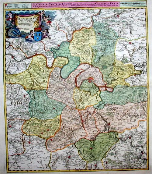 Homann Johann Babtiste Particulir carte des Landes und der Schön- Weltberuhmte Gegend umb Paris so da ist der gröste Theil des Gouvernem der Insul von Frankreich…