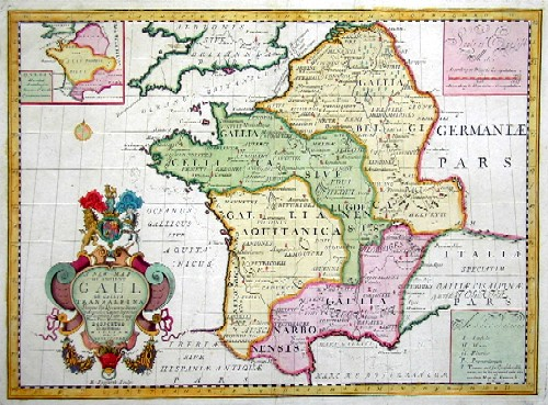 Wells Edward A new map of ancient Gaul or Galia Transalpina