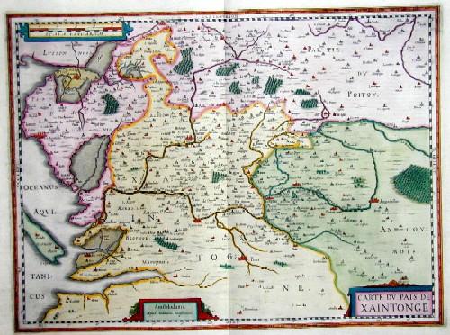 Janssonius  Carte du Pais des Xaintonge
