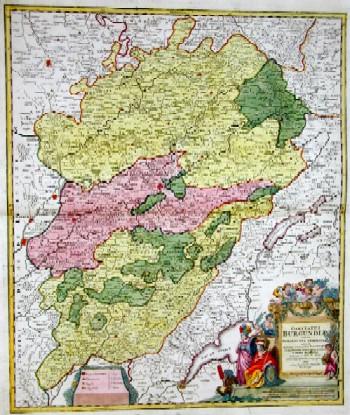 Homann  Comitatus Burgundiae tam in Primarias Ejus Praefecturas …
