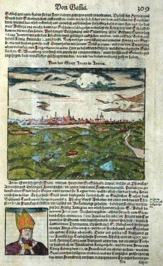 Münster  Von der Statt Arcas in Artois/  Von der Stadt Cales und Ihrer warhafften Abcontrafehtung/samps der Belegerung so anno 1558