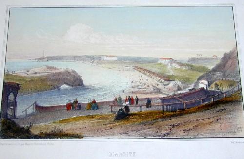 Lemercier / Levasseur  Biarritz vue de la cote du Moulin et de la villa Eugenie