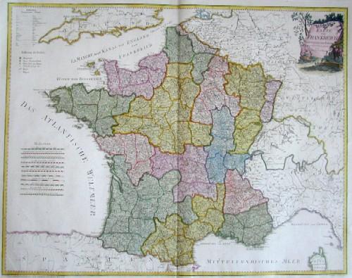Reilly Franz Johann Joseph Karte von Frankreich. Nach Cassini und Julien