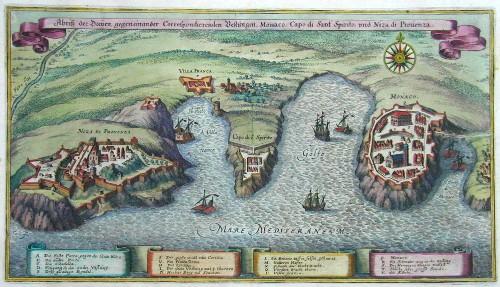 Merian  Abriß der Dreyen, gegeneinander Correspondierenden Vestungen Monaco, Capo di Sant Spirito, und Niza die Provenza