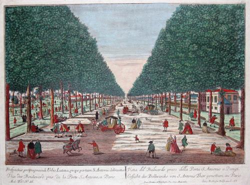 Probst Johann Friedrich Vue des Boulevard pris de la porte S. Antoine, a Paris/ Gesicht des Bollwercks von S. Antnis Thor genommen zu Paris