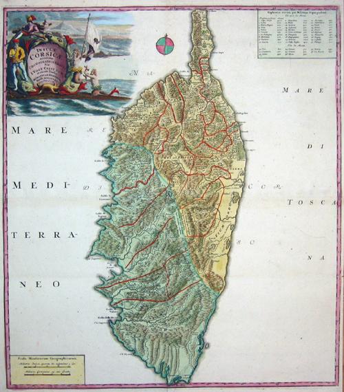 Homann Erben  Insulae Corsicae accurata chorographia tradita….