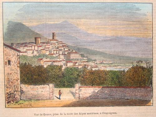 Royer  Vue de Grasse prise de la route des Alpes maritimes, a Draguingan