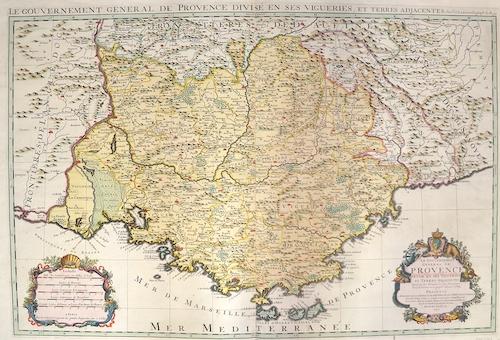 Sanson  Le gouvernement general de Provence divise en ses vigueries, et Terres adjacentes