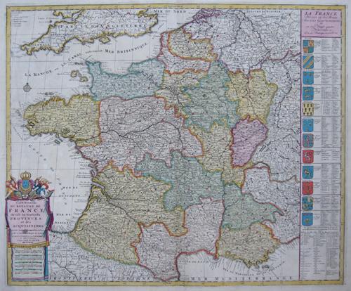 Elwe  Carte nouvelle du Royaume de France divisé en toutes ses Provinces et ses acquisitions