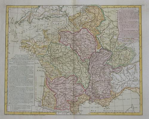 Dezauche/de l´Isle,  Carte Physique ou Geographie naturelle de la France…..