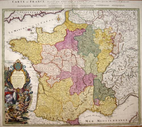 Homann Erben  Regni Galliae seu Franciae et Navarrae tabula geographica…../ Carte de France dressé par Guilaume de L´Isle……