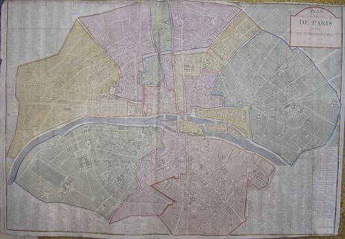 Dezauche J.A. Plan routier de la ville et Fanbourg de paris divise en 12 municipaites 1799 Au 8