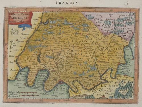 Kaerius Petrus Francia/ L´Isle de France Parisiensis agri descriptio
