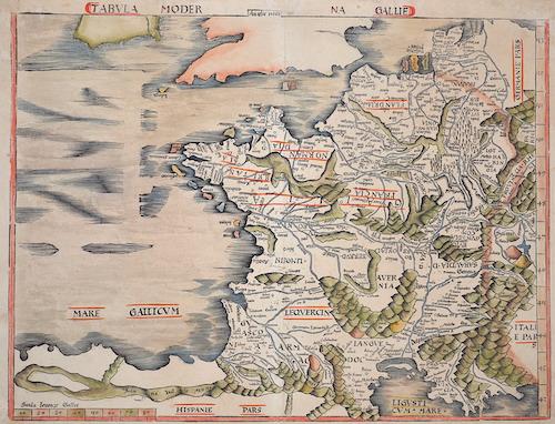 Ptolemy/Waldseemüller- Johann Schott  Tabula Moderna Gallie